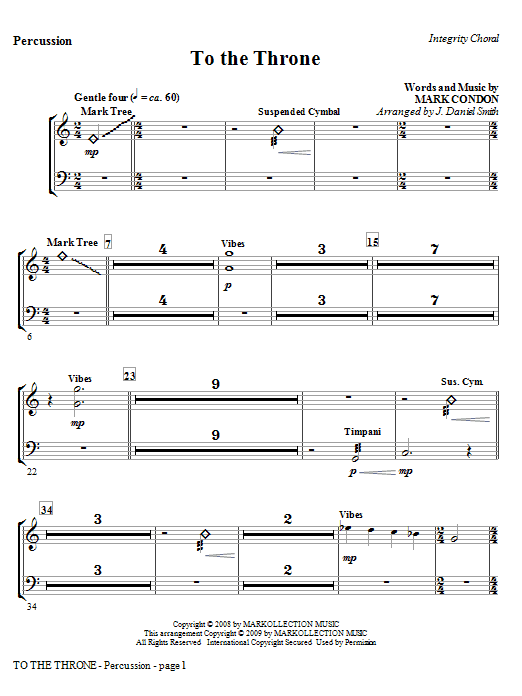 J. Daniel Smith To The Throne - Percussion sheet music notes and chords. Download Printable PDF.
