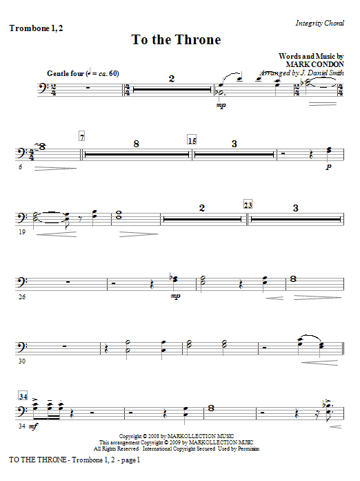 J. Daniel Smith To The Throne - Trombone 1 & 2 sheet music notes and chords. Download Printable PDF.