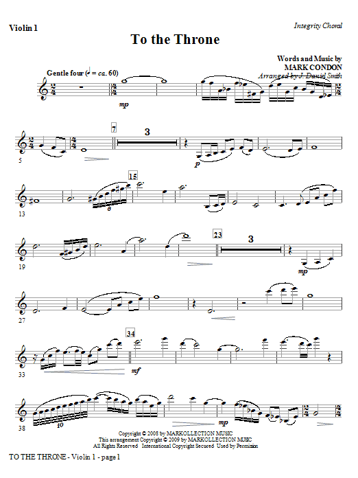 J. Daniel Smith To The Throne - Violin 2 sheet music notes and chords. Download Printable PDF.