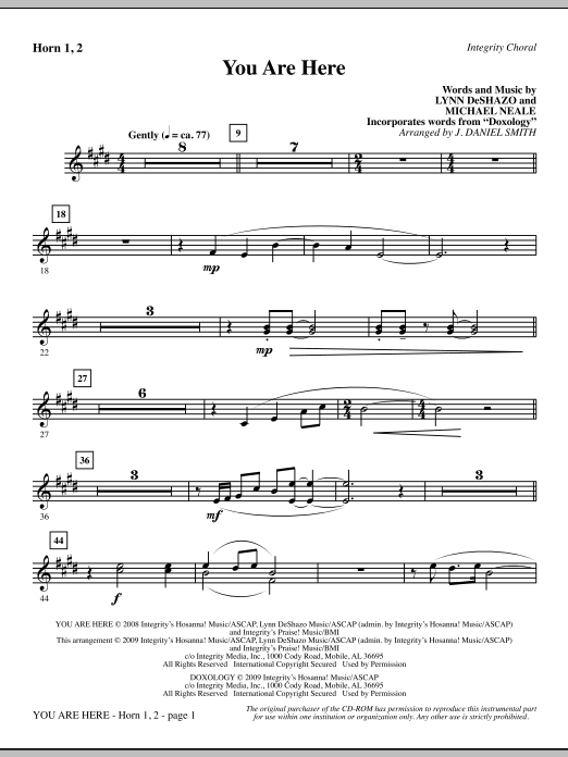 J. Daniel Smith You Are Here (incorporating Doxology) - Horn 1 & 2 sheet music notes and chords. Download Printable PDF.