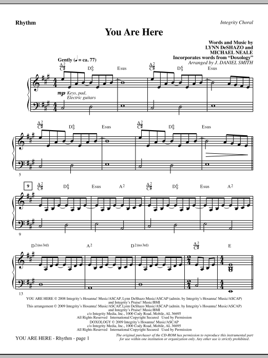J. Daniel Smith You Are Here (incorporating Doxology) - Rhythm sheet music notes and chords. Download Printable PDF.