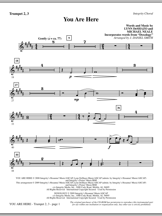 J. Daniel Smith You Are Here (incorporating Doxology) - Trumpet 2 & 3 sheet music notes and chords. Download Printable PDF.