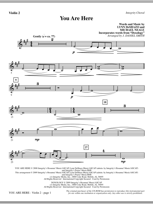 J. Daniel Smith You Are Here (incorporating Doxology) - Violin 2 sheet music notes and chords. Download Printable PDF.
