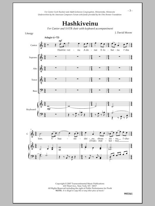 J. David Moore Hashkiveinu sheet music notes and chords. Download Printable PDF.