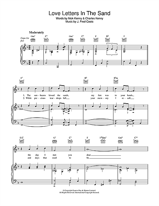 J. Fred Coots Love Letters In The Sand sheet music notes and chords. Download Printable PDF.