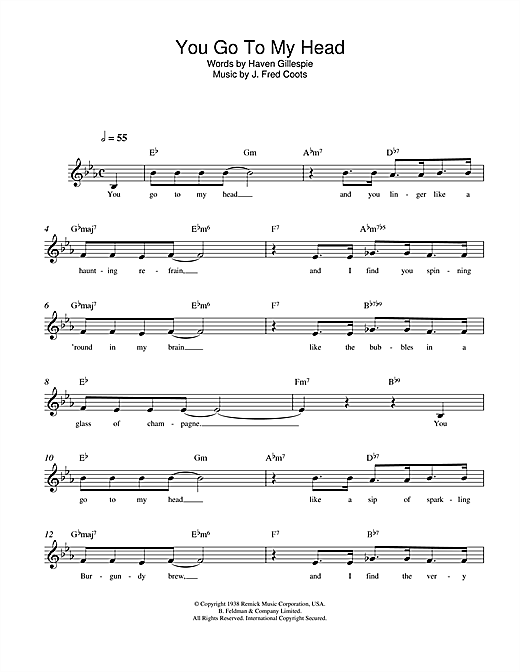 J. Fred Coots You Go To My Head sheet music notes and chords. Download Printable PDF.