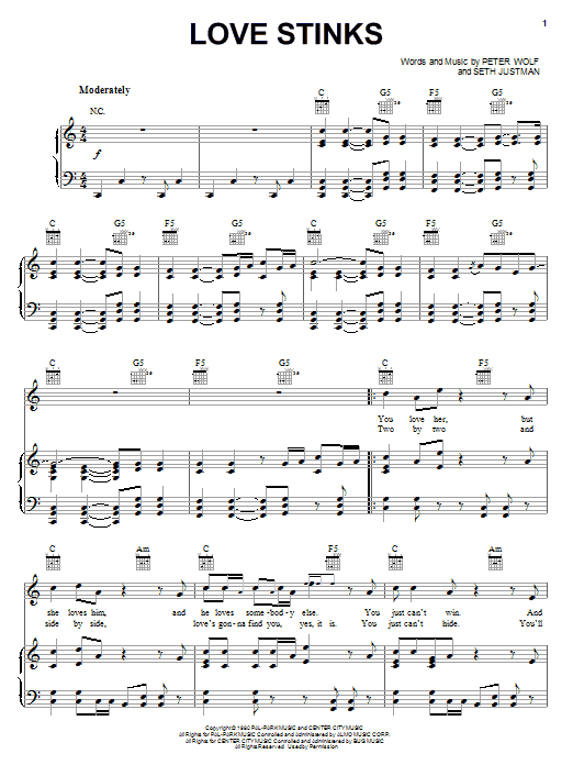 J. Geils Band Love Stinks sheet music notes and chords. Download Printable PDF.