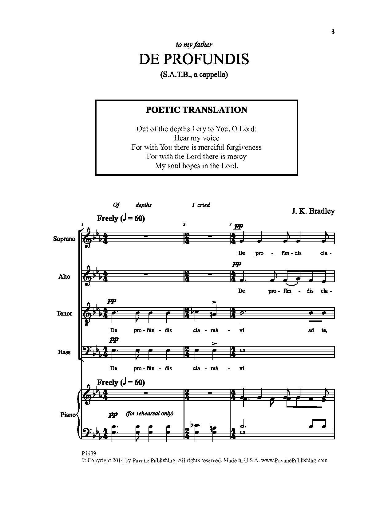 J. K. Bradley De Profundis sheet music notes and chords. Download Printable PDF.
