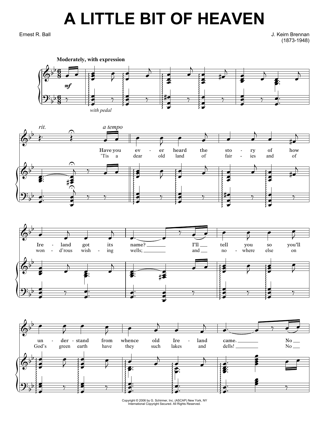 J. Keirn Brenan A Little Bit Of Heaven sheet music notes and chords. Download Printable PDF.