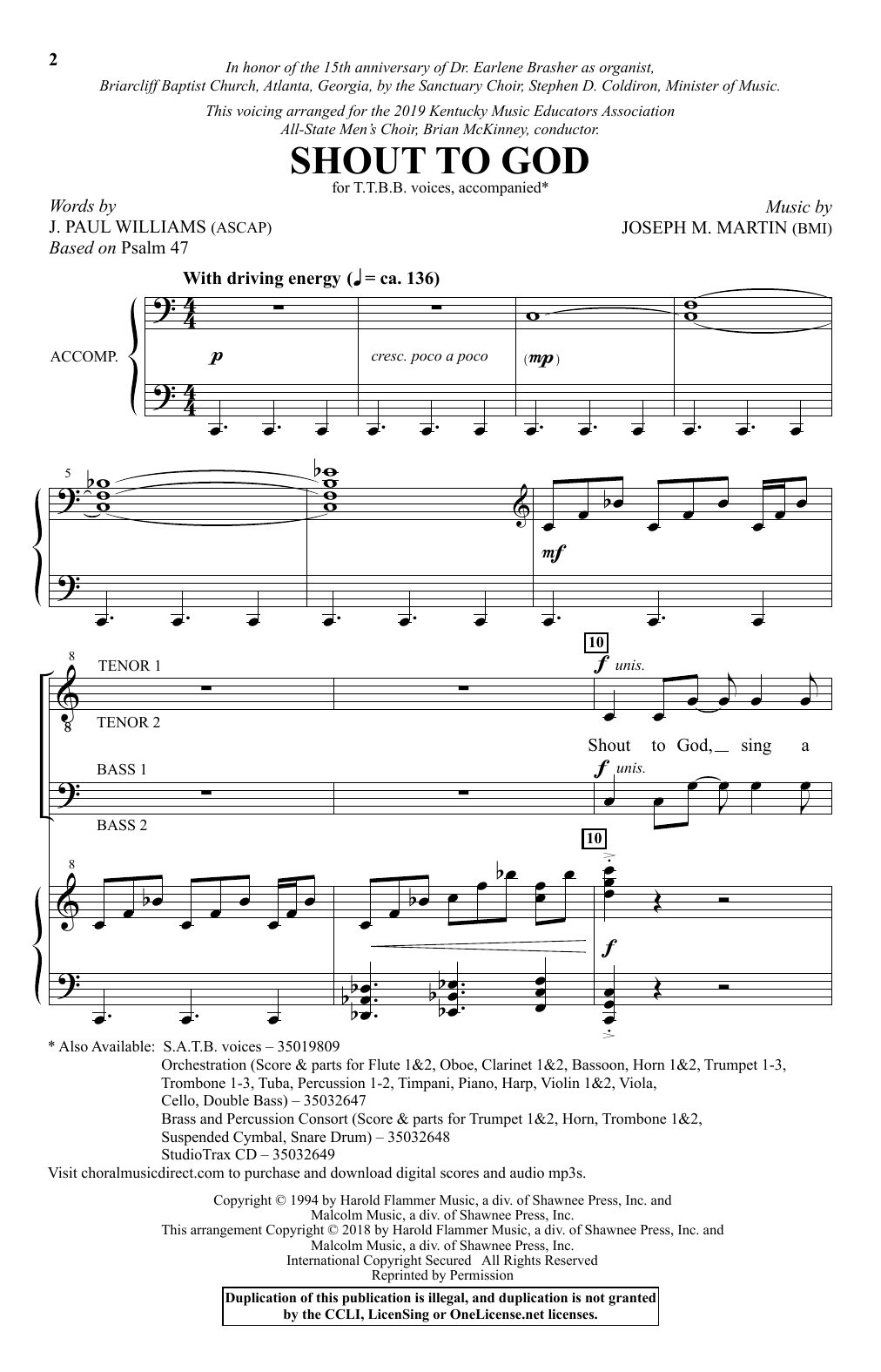 J. Paul Williams & Joseph M. Martin Shout To God sheet music notes and chords. Download Printable PDF.