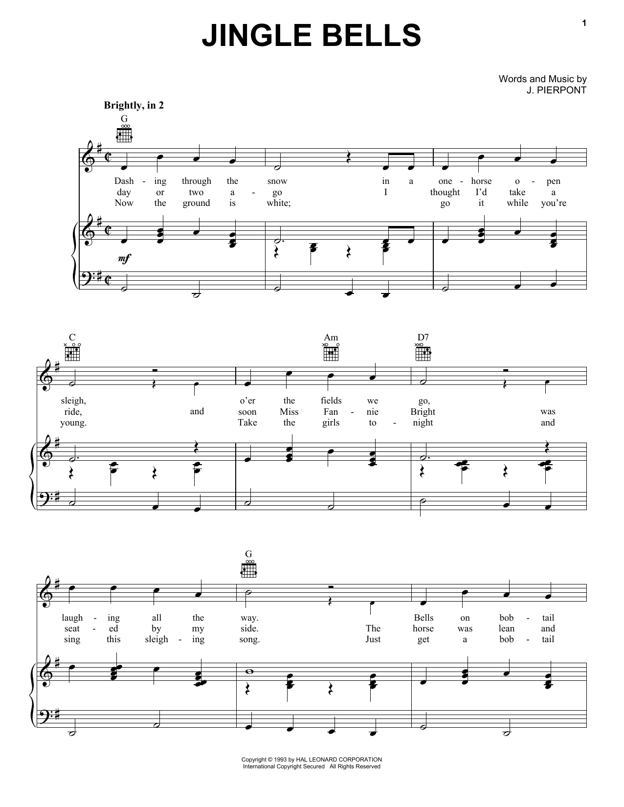 J. Pierpont Jingle Bells sheet music notes and chords. Download Printable PDF.