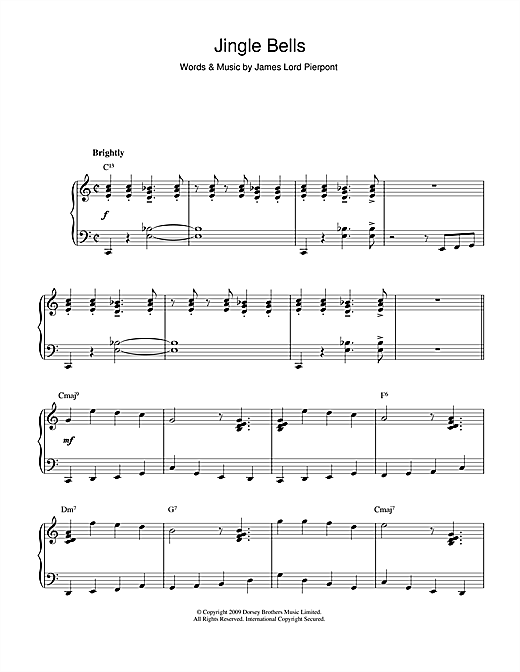 J. Pierpont Jingle Bells [Jazz version] sheet music notes and chords. Download Printable PDF.