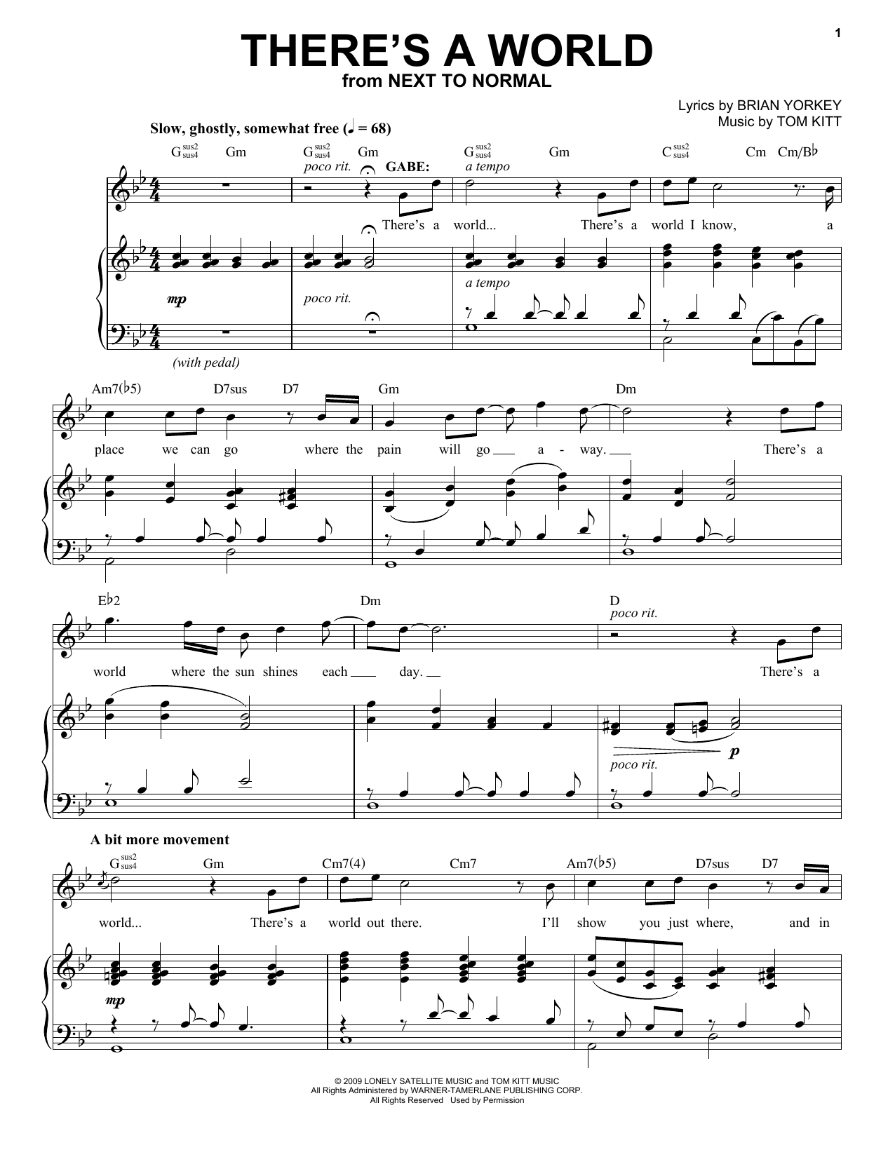 J. Robert Spencer There's A World (from Next to Normal) sheet music notes and chords