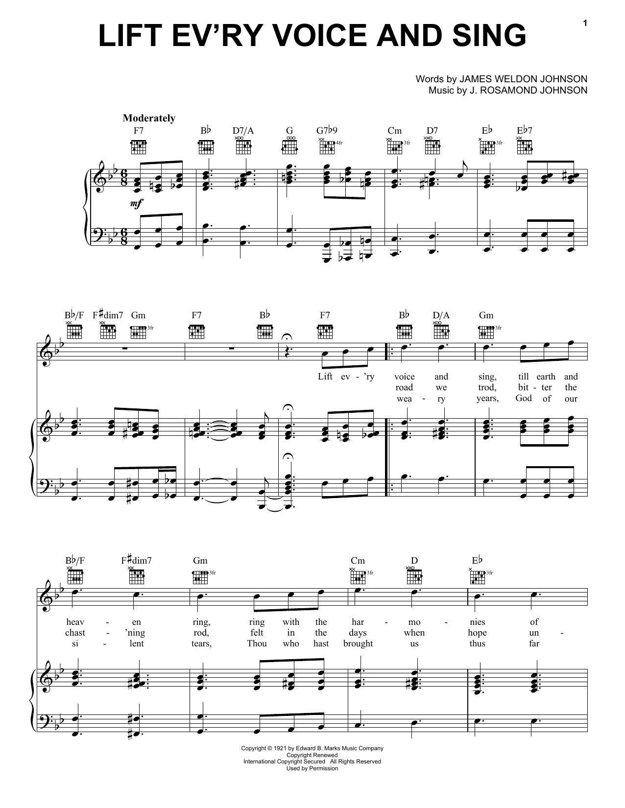 J. Rosamond Johnson Lift Ev'ry Voice And Sing sheet music notes and chords. Download Printable PDF.