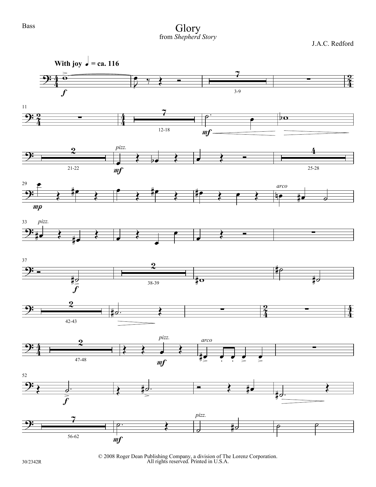 J.A.C. Redford Glory - Double Bass sheet music notes and chords