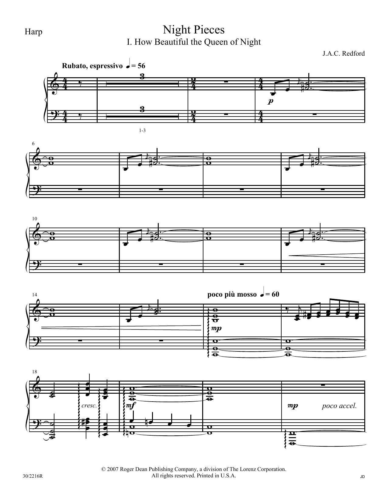 J.A.C. Redford Night Pieces - Harp sheet music notes and chords. Download Printable PDF.