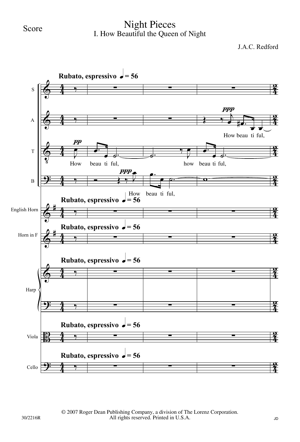 J.A.C. Redford Night Pieces - Score sheet music notes and chords. Download Printable PDF.