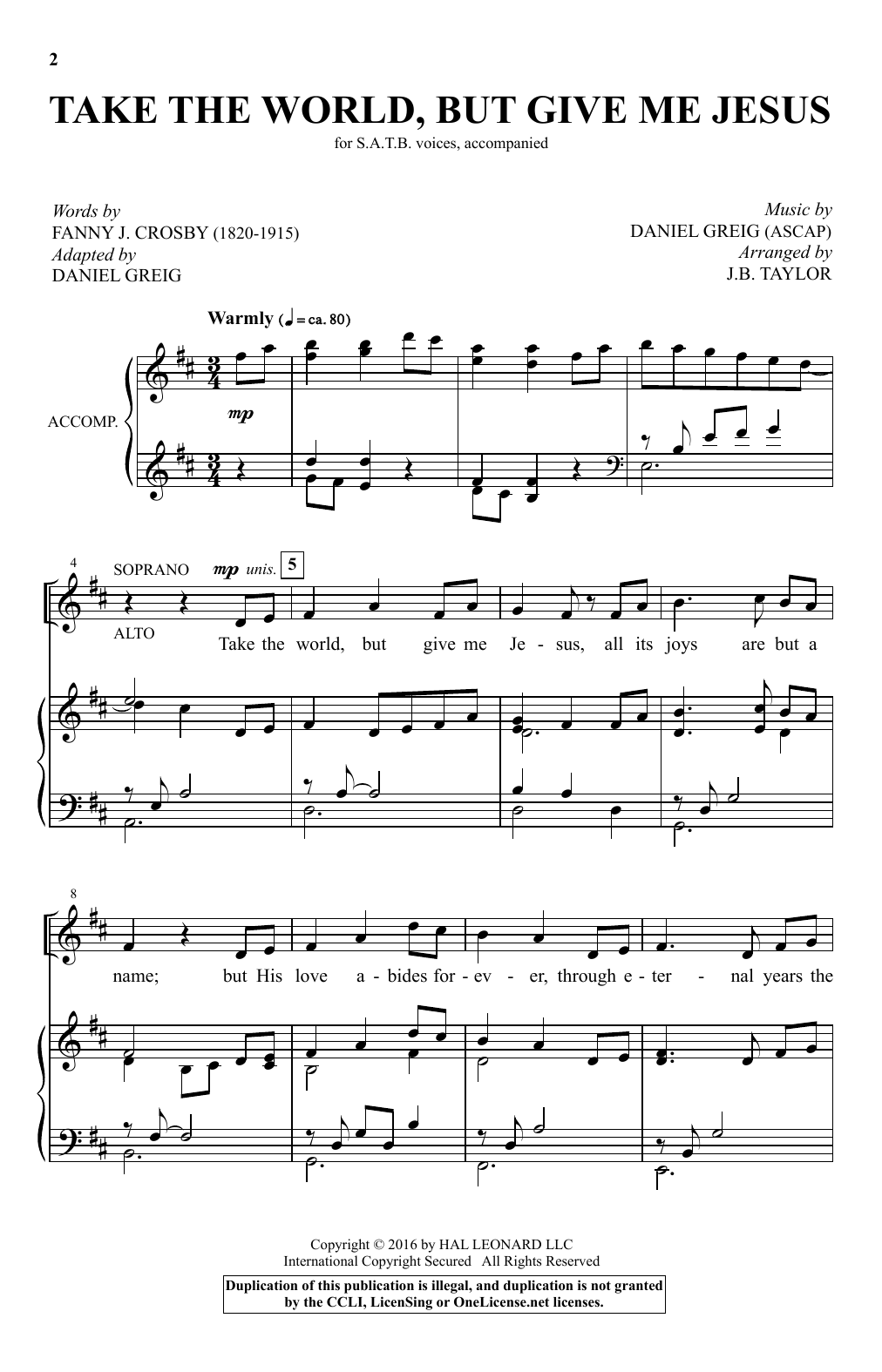 Daniel Greig Take The World But Give Me Jesus (arr. J.B. Taylor) sheet music notes and chords. Download Printable PDF.