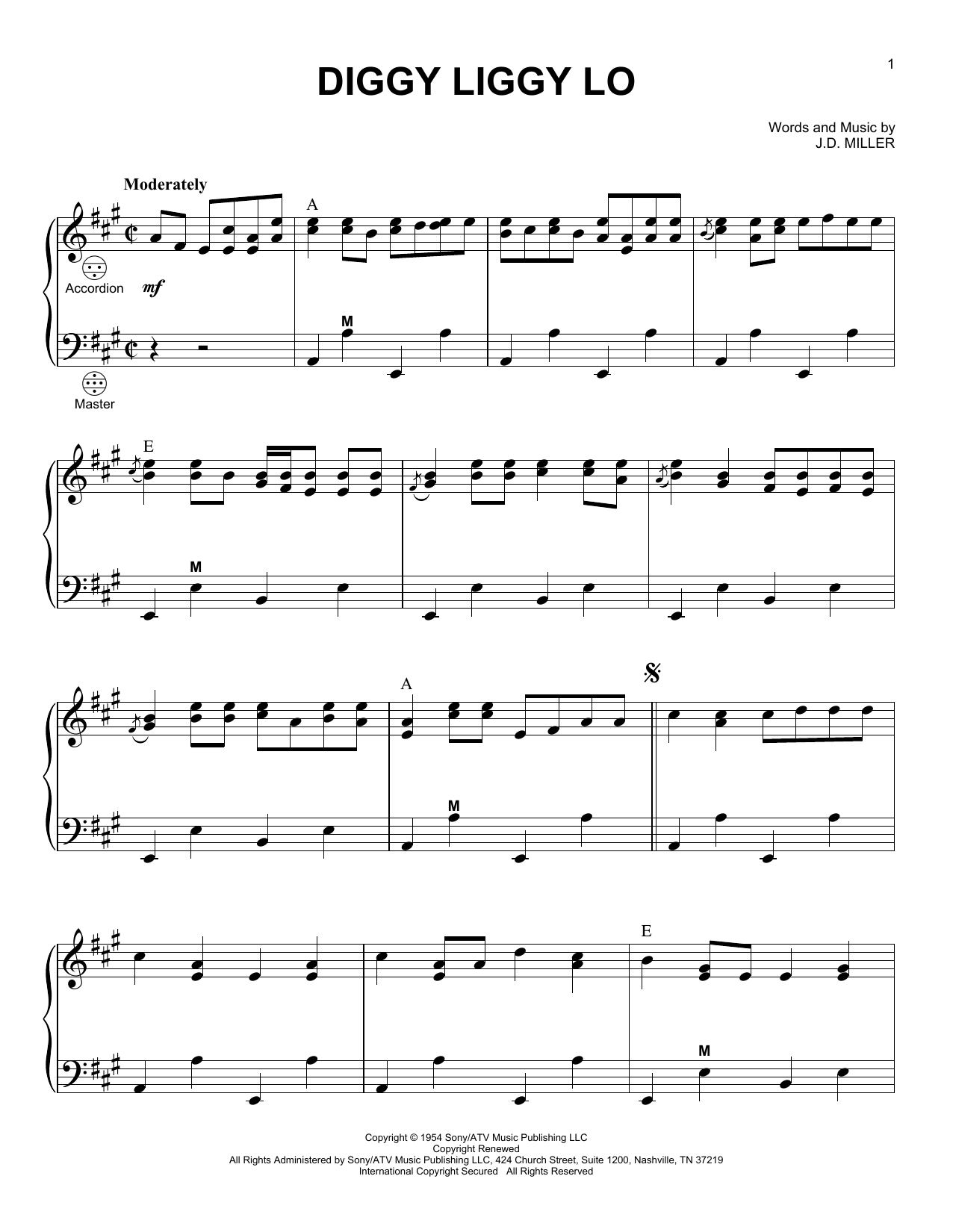 J.D. Miller Diggy Liggy Lo sheet music notes and chords. Download Printable PDF.