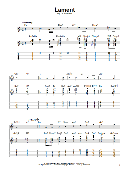 J.J. Johnson Lament sheet music notes and chords. Download Printable PDF.