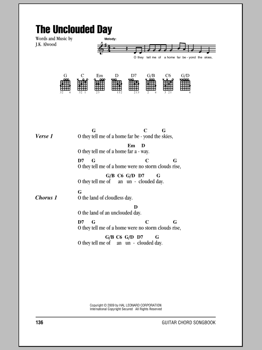 J.K. Alwood The Unclouded Day sheet music notes and chords