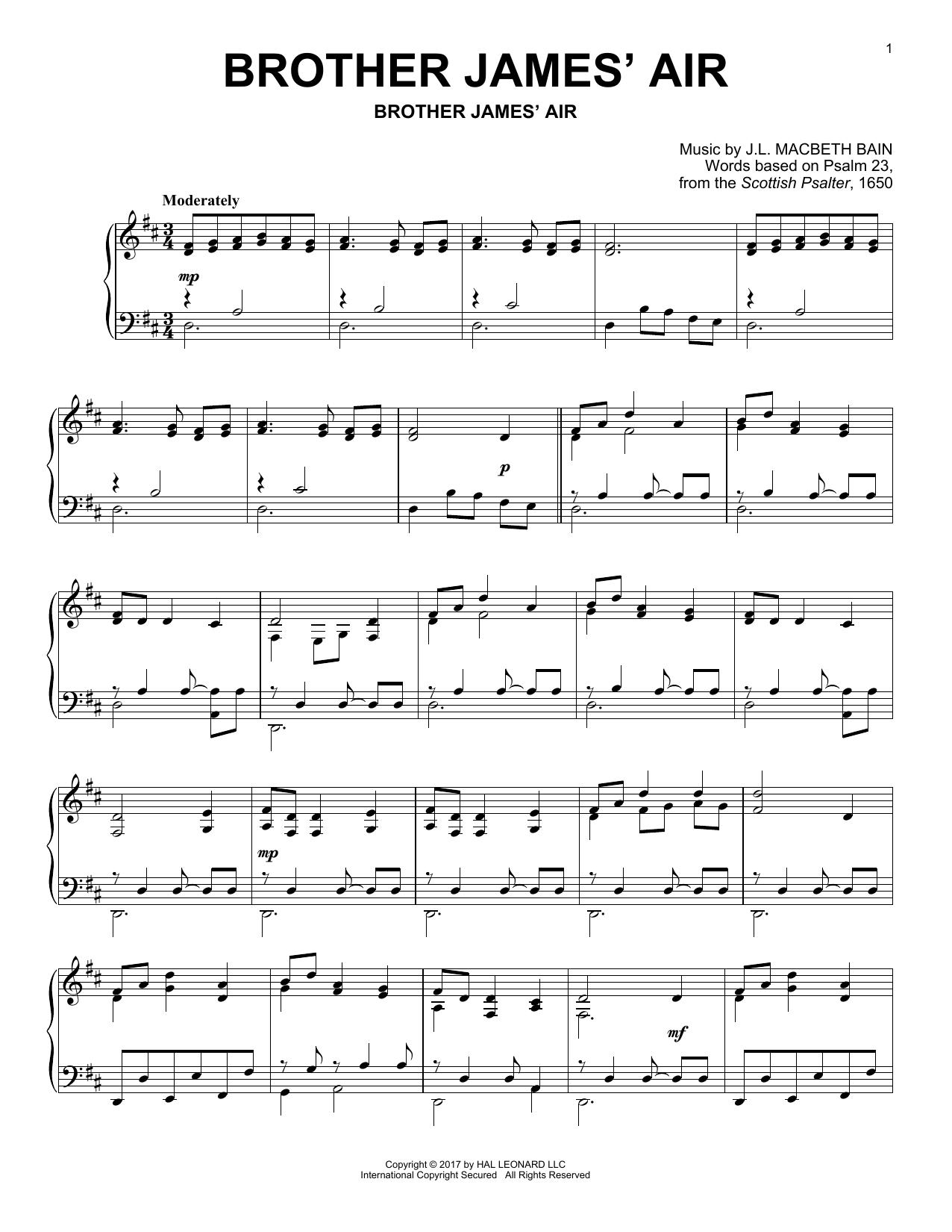J.L. Macbeth Bain Brother James' Air sheet music notes and chords. Download Printable PDF.
