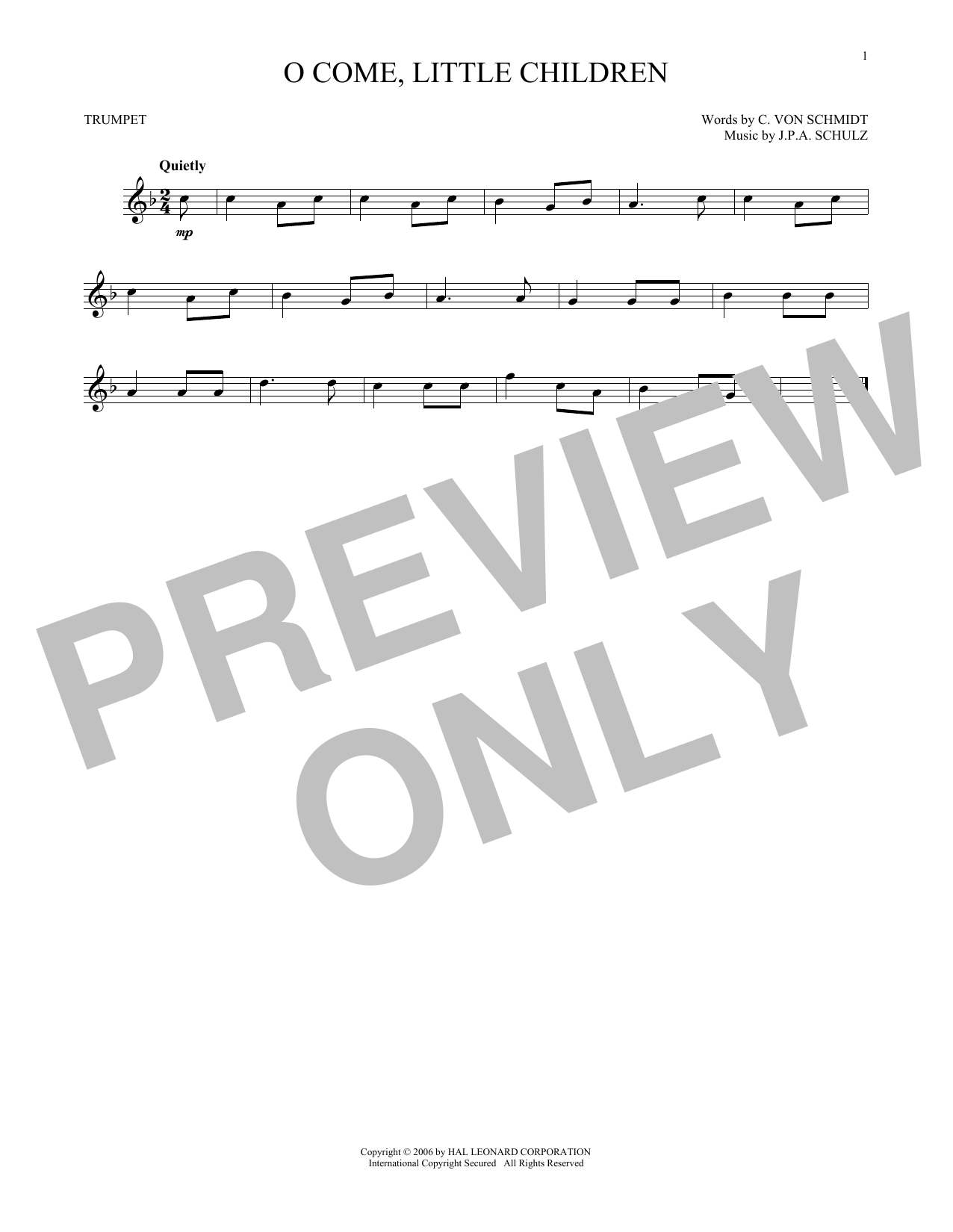 J.P.A. Schulz O Come, Little Children sheet music notes and chords. Download Printable PDF.