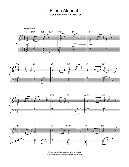 J.R. Thomas Eileen Alannah sheet music notes and chords. Download Printable PDF.