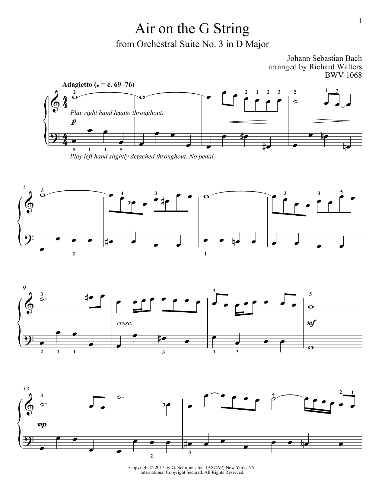 J.S. Bach Air (Air On The G String) sheet music notes and chords