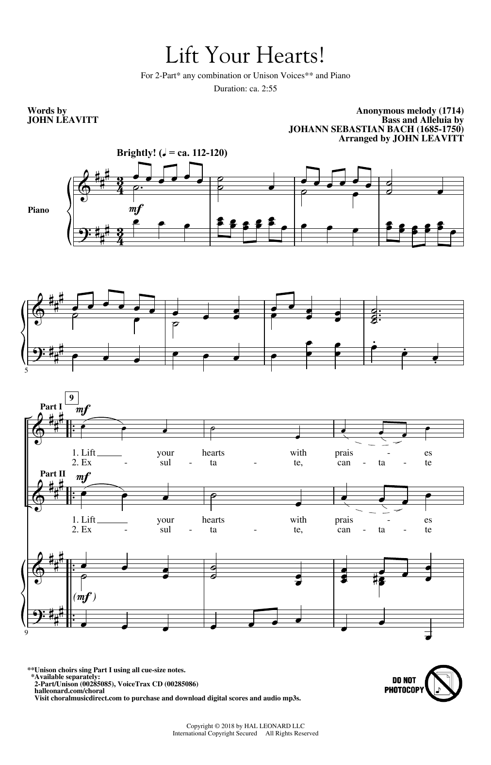 J.S. Bach Lift Your Hearts! (arr. John Leavitt) sheet music notes and chords. Download Printable PDF.