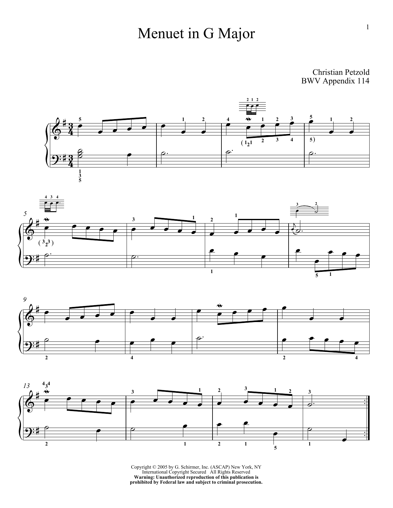 J.S. Bach Minuet In G sheet music notes and chords