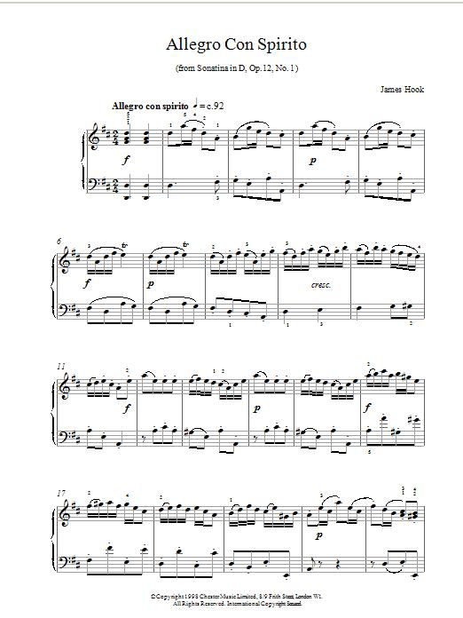 James Hook Allegro Con Spirito Op.12 No.1 sheet music notes and chords. Download Printable PDF.