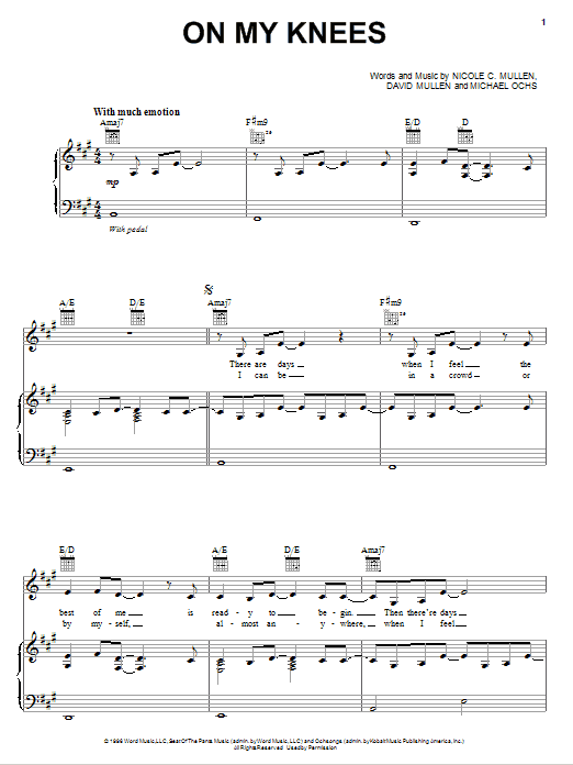 Jaci Velasquez On My Knees sheet music notes and chords. Download Printable PDF.