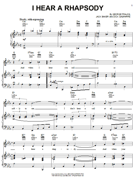 Jack Baker I Hear A Rhapsody sheet music notes and chords. Download Printable PDF.
