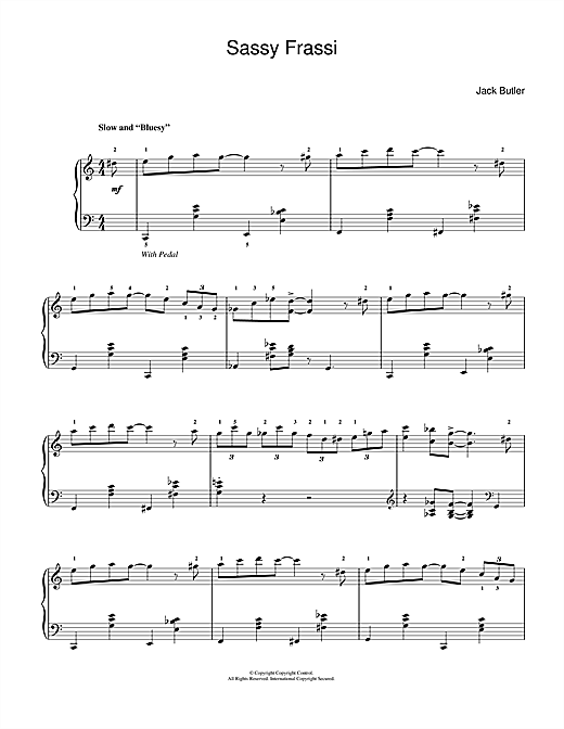 Jack Butler Sassy Frassi (in 'blues' style) sheet music notes and chords. Download Printable PDF.