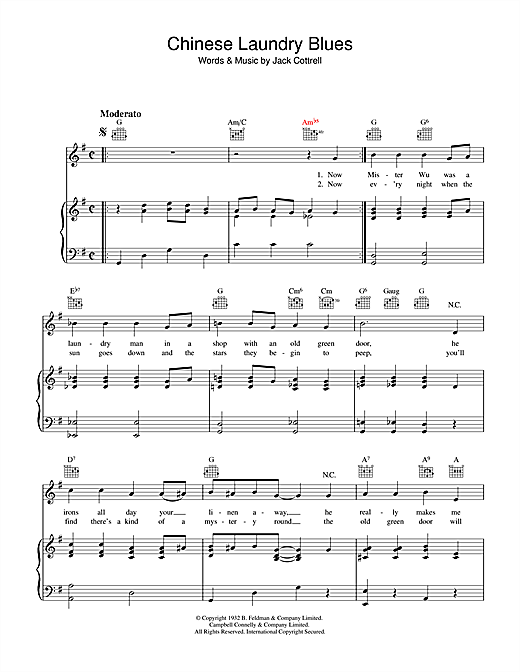 Jack Cottrell Chinese Laundry Blues sheet music notes and chords. Download Printable PDF.