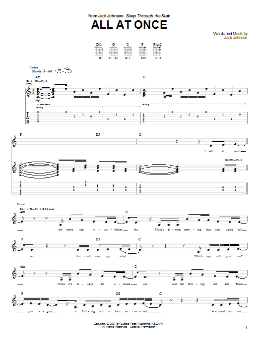 Jack Johnson All At Once sheet music notes and chords