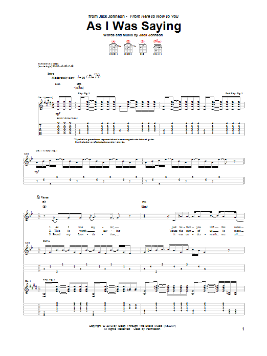Jack Johnson As I Was Saying sheet music notes and chords. Download Printable PDF.