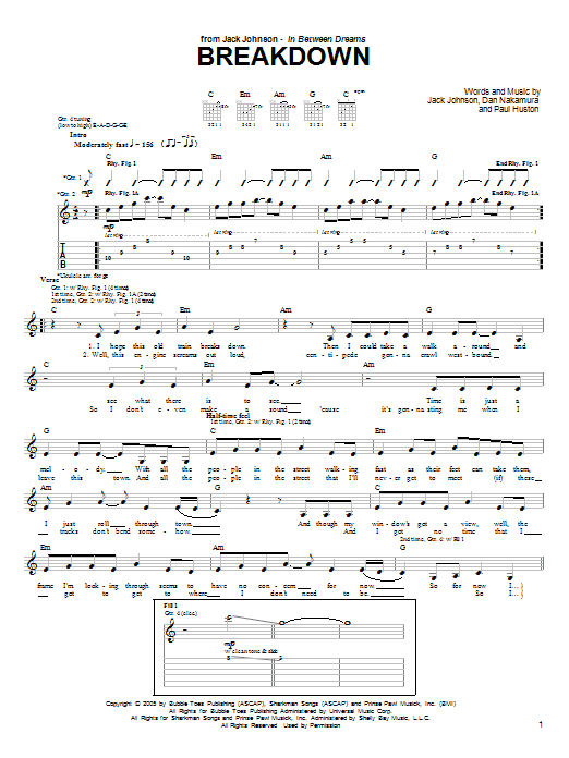 Jack Johnson Breakdown sheet music notes and chords. Download Printable PDF.