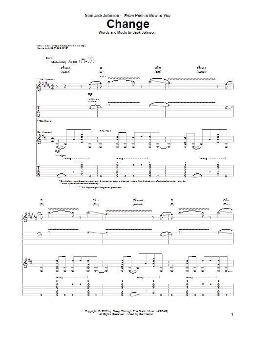Jack Johnson Change sheet music notes and chords. Download Printable PDF.