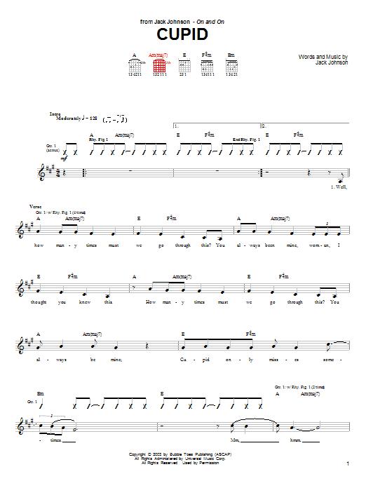 Jack Johnson Cupid sheet music notes and chords. Download Printable PDF.
