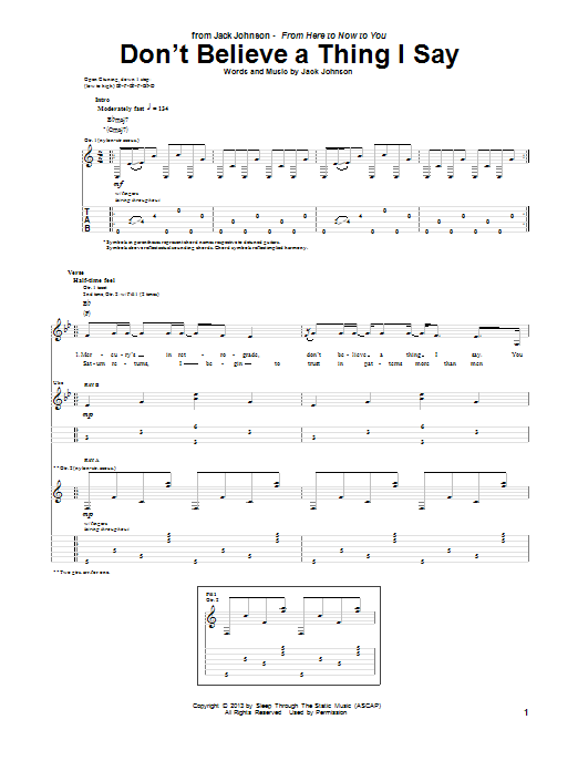 Jack Johnson Don't Believe A Thing I Say sheet music notes and chords. Download Printable PDF.