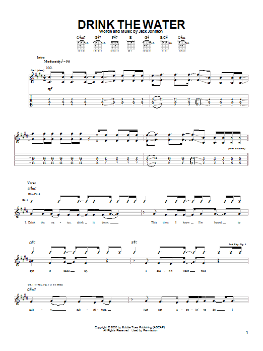 Jack Johnson Drink The Water sheet music notes and chords. Download Printable PDF.