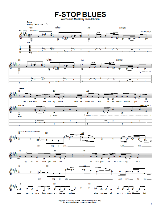 Jack Johnson F-Stop Blues sheet music notes and chords. Download Printable PDF.