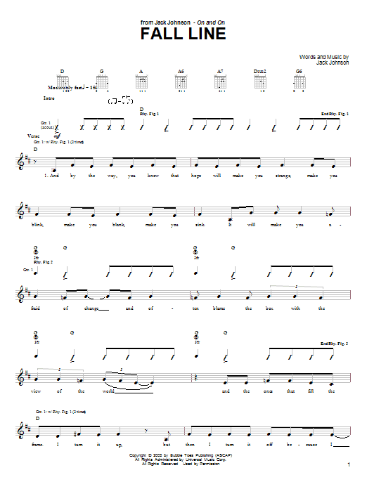 Jack Johnson Fall Line sheet music notes and chords. Download Printable PDF.