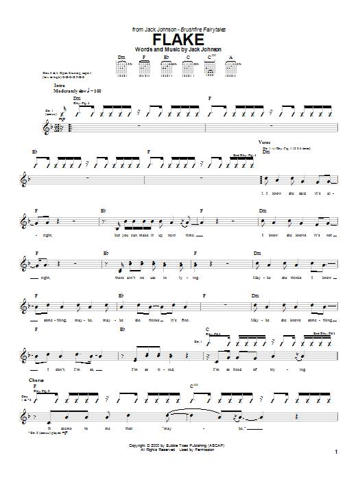 Jack Johnson Flake sheet music notes and chords. Download Printable PDF.