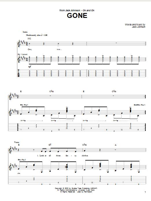 Jack Johnson Gone sheet music notes and chords. Download Printable PDF.