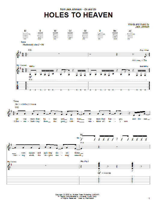 Jack Johnson Holes To Heaven sheet music notes and chords. Download Printable PDF.