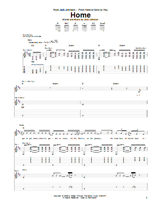 Jack Johnson Home sheet music notes and chords. Download Printable PDF.