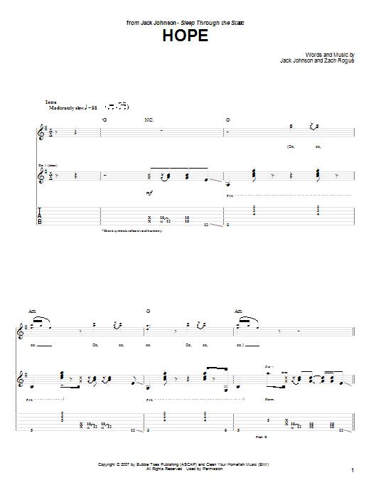 Jack Johnson Hope sheet music notes and chords. Download Printable PDF.
